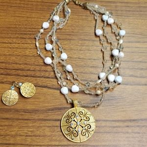 Layered Necklace with matching earrings
